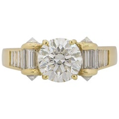 Certified David Morris Round Brilliant Cut Diamond Engagement Ring 1.40 Carat