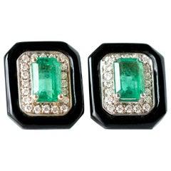 Diamond and Emerald 14 Karat Two-Tone Gold and Onyx Stud Earrings