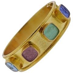 Elizabeth Locke Venetian Glass Intaglio Gold Bracelet