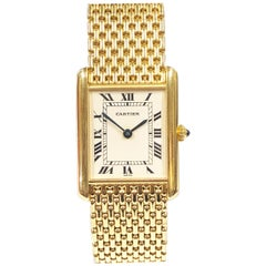 Cartier Yellow Gold Classic Tank Watch on Gold Woven Link Bracelet