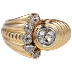 Spectacular Retro 1.05 Carat Old Cut Diamond Rare Tourbillon Ring
