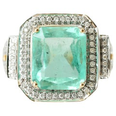 8 Carat Emerald and .50 Carat Diamond 18 Karat Two-Tone Gold Ring