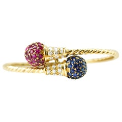 Diamond, Ruby and Sapphire 18 Karat Gold Bangle Bracelet