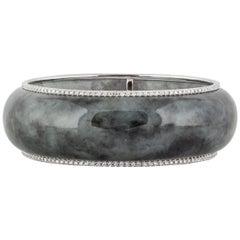 Sue Gragg Spinach Jade Diamond Bangle Bracelet