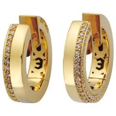 Monseo Yellow Gold Diamonds Hoop Earrings