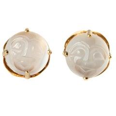 Carved Moonstone 14 Karat Yellow Gold Stud Earrings