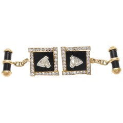 Vintage Horse Head Diamond Gold Cufflinks