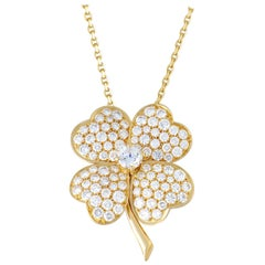Van Cleef & Arpels Cosmos Diamond Pave Flower Gold Brooch or Pendant Necklace