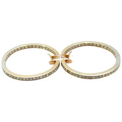 Diamond Hoops Earring in white and yellow 18kt gold and 1.60ct of white diamonds