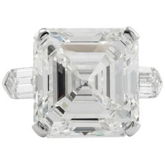 13.07 Carat GIA Square Cut Emerald Diamond Ring
