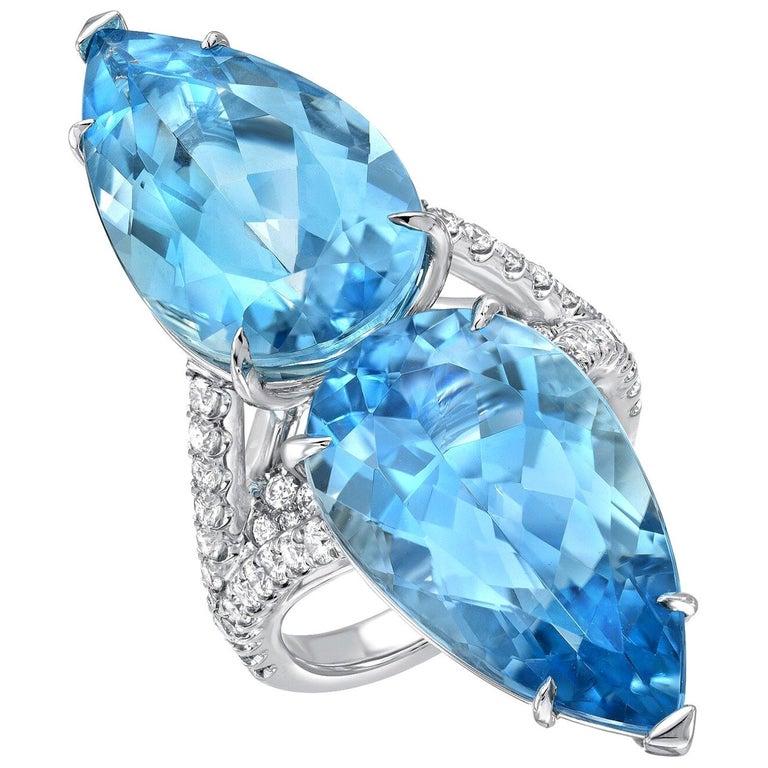 Aquamarine Diamond Cocktail Platinum Blue Ring Pear Shapes 18.59 Carat For Sale