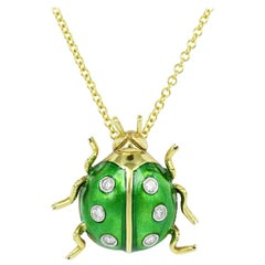 Green Enamel and Diamond Estate Ladybug Pendant '18 Karat Yellow Gold'