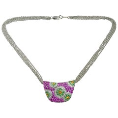 Cellini Jewelers 18Kt Gold, 3.62ct Pink & Yellow Sapphire, & Diamond Pendant