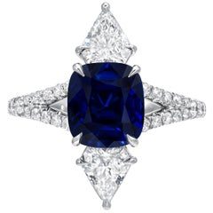 Unheated Ceylon Blue Sapphire Diamond Platinum Engagement Ring GIA Certified