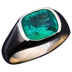 Rare Antique Russian Emerald Gold Unisex Ring