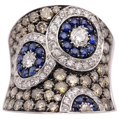 Cellini Jewelers 18Kt Gold, 1.70 ct Brown and White Diamond and Blue Sapphire