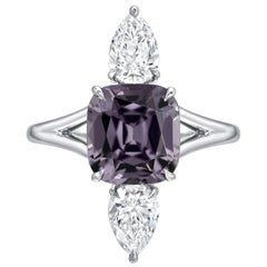 Burma Spinel Ring 3.14 Carat Cushion Cut