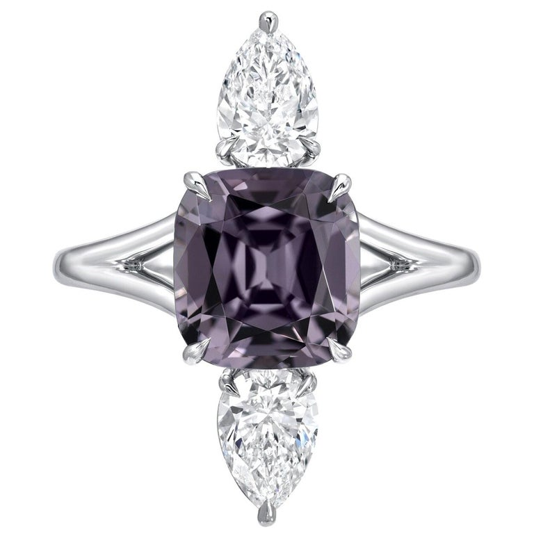Burmese Spinel Cocktail Ring Diamond Platinum GIA Certified For Sale