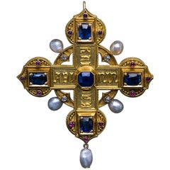 Antique Italian Medieval Style Jeweled Gold Cross Pendant Brooch