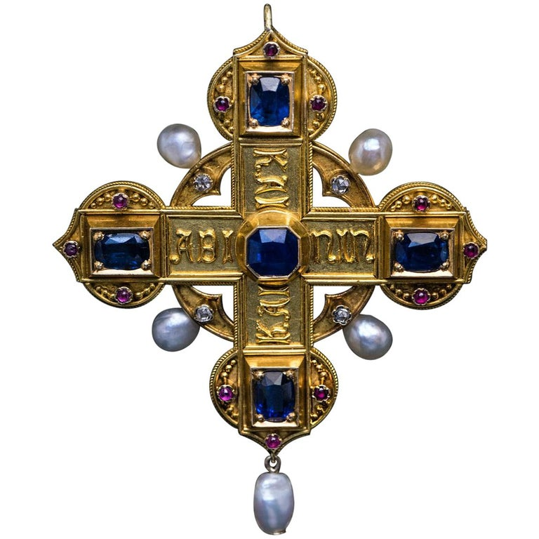 Italian medieval-style pendant, ca. 1870, offered by Romanov Russia