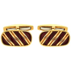 Valentin Magro Striped Dark Red Enamel and Gold Cufflinks