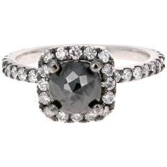 1.64 Carat Black and White Diamond 14 Karat White Gold Ring