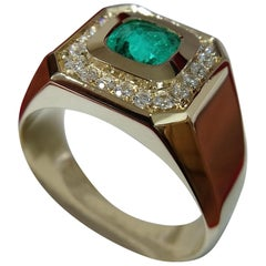 Emerald and Diamond Gold Engagement Ring