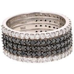 2.35 Carat Black and White Diamond 14 Karat White Gold Band