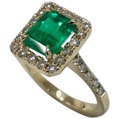 2.5 Carat Colombian Emerald and Diamond Engagement Ring