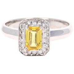 0.80 Carat Yellow Sapphire and Diamond 14 Karat White Gold Ring