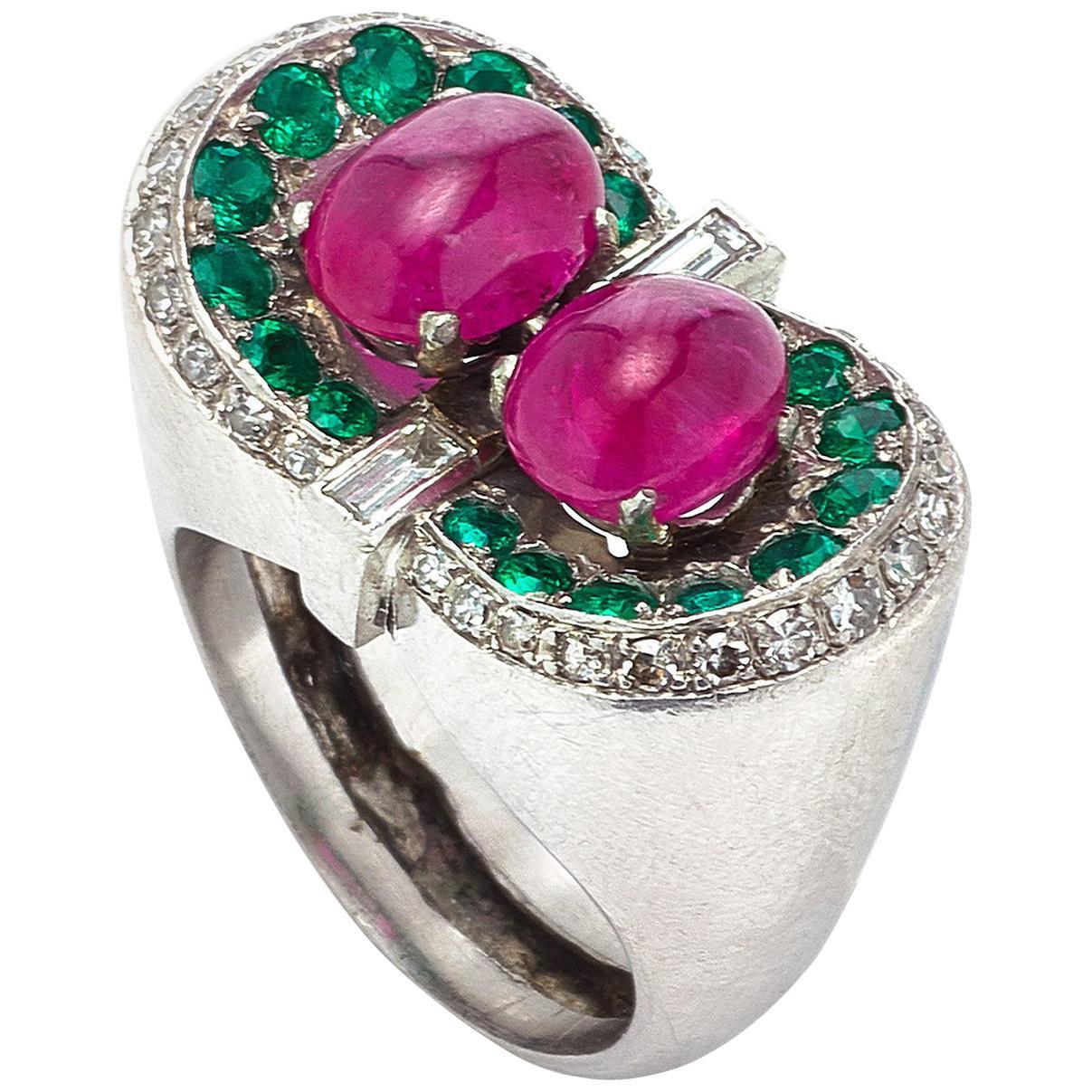 Cabochon Ruby Emerald Emeralds Diamond Ring