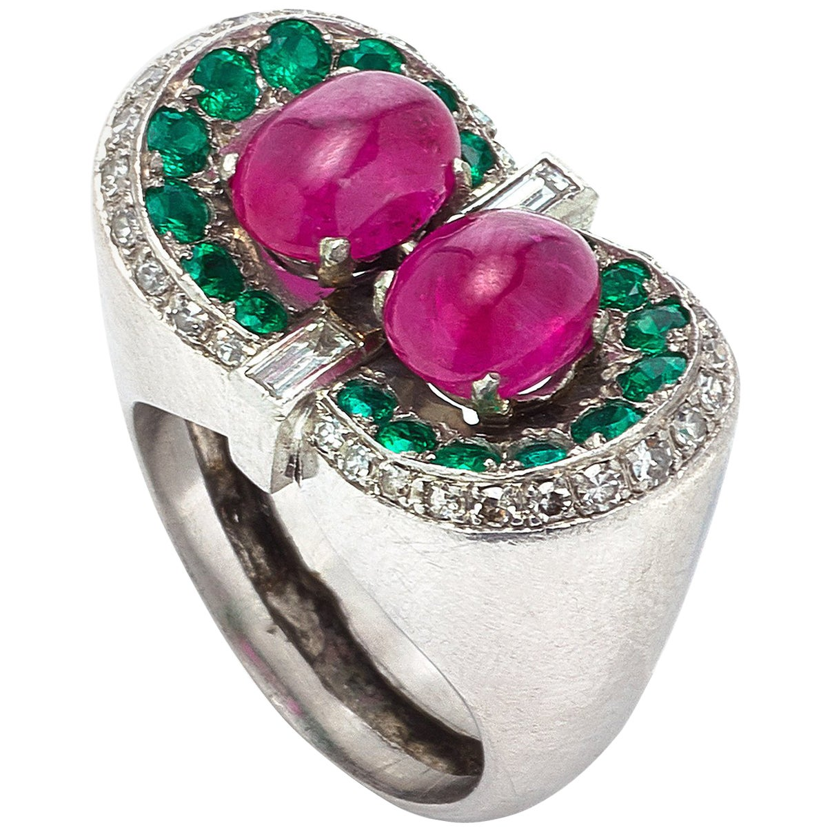 Cabochon Ruby Emerald Emeralds Diamond Ring