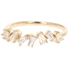 0.55 Carat Baguette Cut Diamond Band 14 Karat Yellow Gold