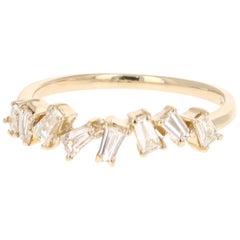 0.55 Carat Baguette Cut Diamond Band 14 Karat Yellow Gold