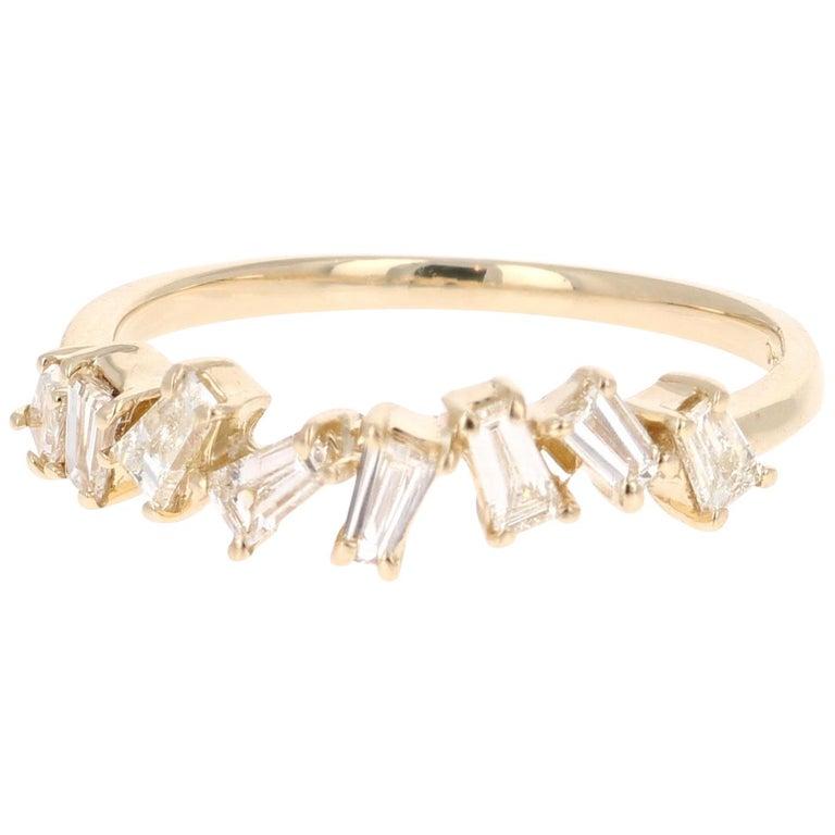 0.55 Carat Baguette Cut Diamond Band 14 Karat Yellow Gold For Sale