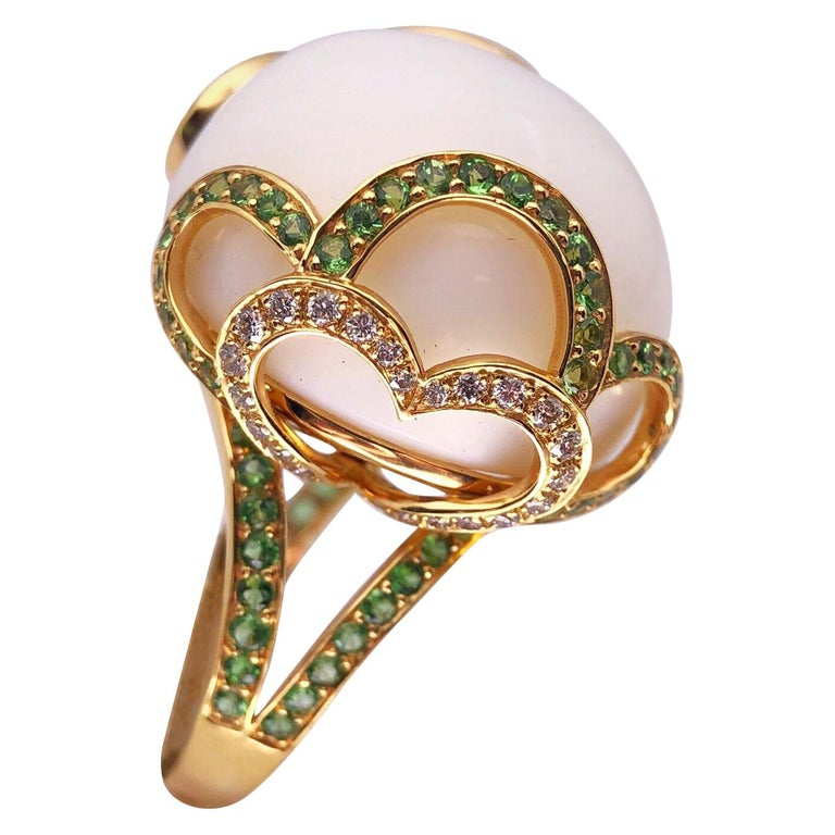 Zorab Creation 18 Karat Gold, 37.89 Carat White Opal, Tsavorite and Diamond Ring For Sale