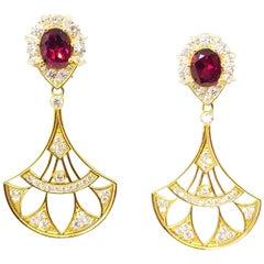 11.2 Carat Rhodolite Garnet Diamond Custom Designed Fan Drop Statement Earrings
