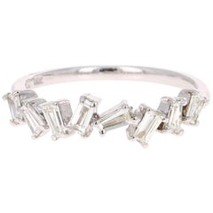 0.55 Carat Baguette Cut Diamond Band 14 Karat White Gold