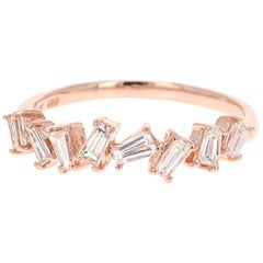 0.55 Carat Baguette Cut Diamond Band 14 Karat Rose Gold