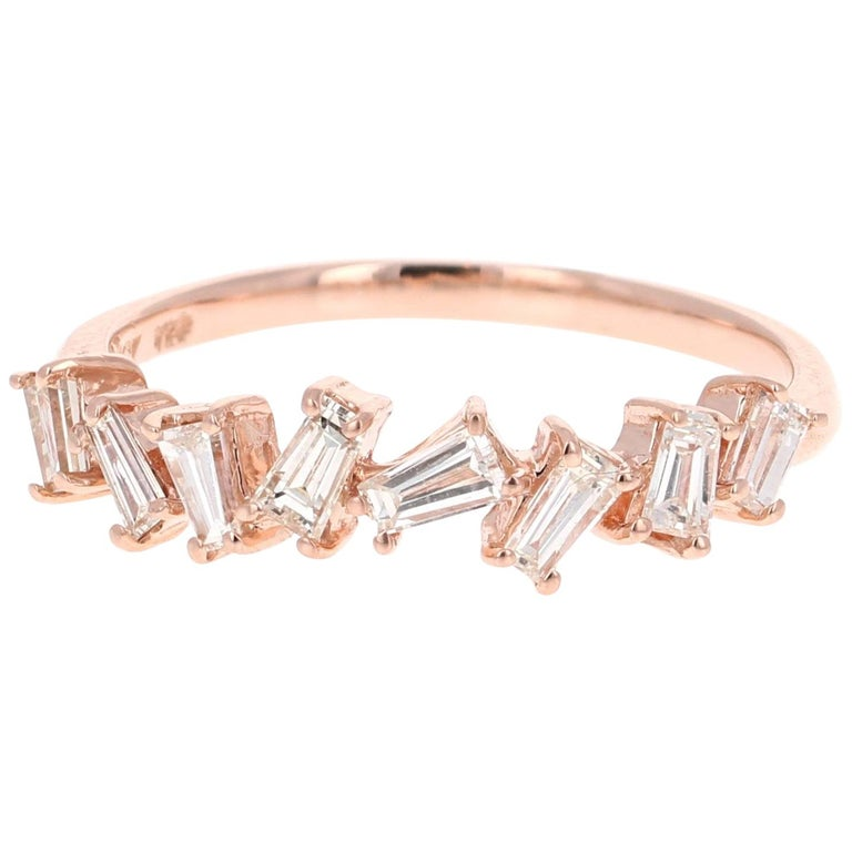 0.55 Carat Baguette Cut Diamond Band 14 Karat Rose Gold For Sale