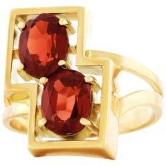 Modernist Garnet Set Gold Ring