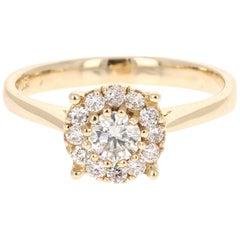 0.53 Carat Diamond 14 Karat Yellow Gold Ring