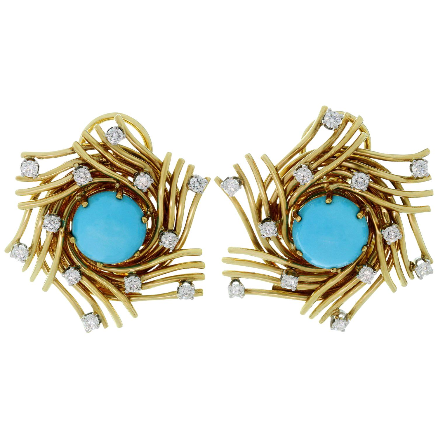 Tiffany & Co. Diamond Turquoise Platinum Yellow Gold Clip-On Earrings