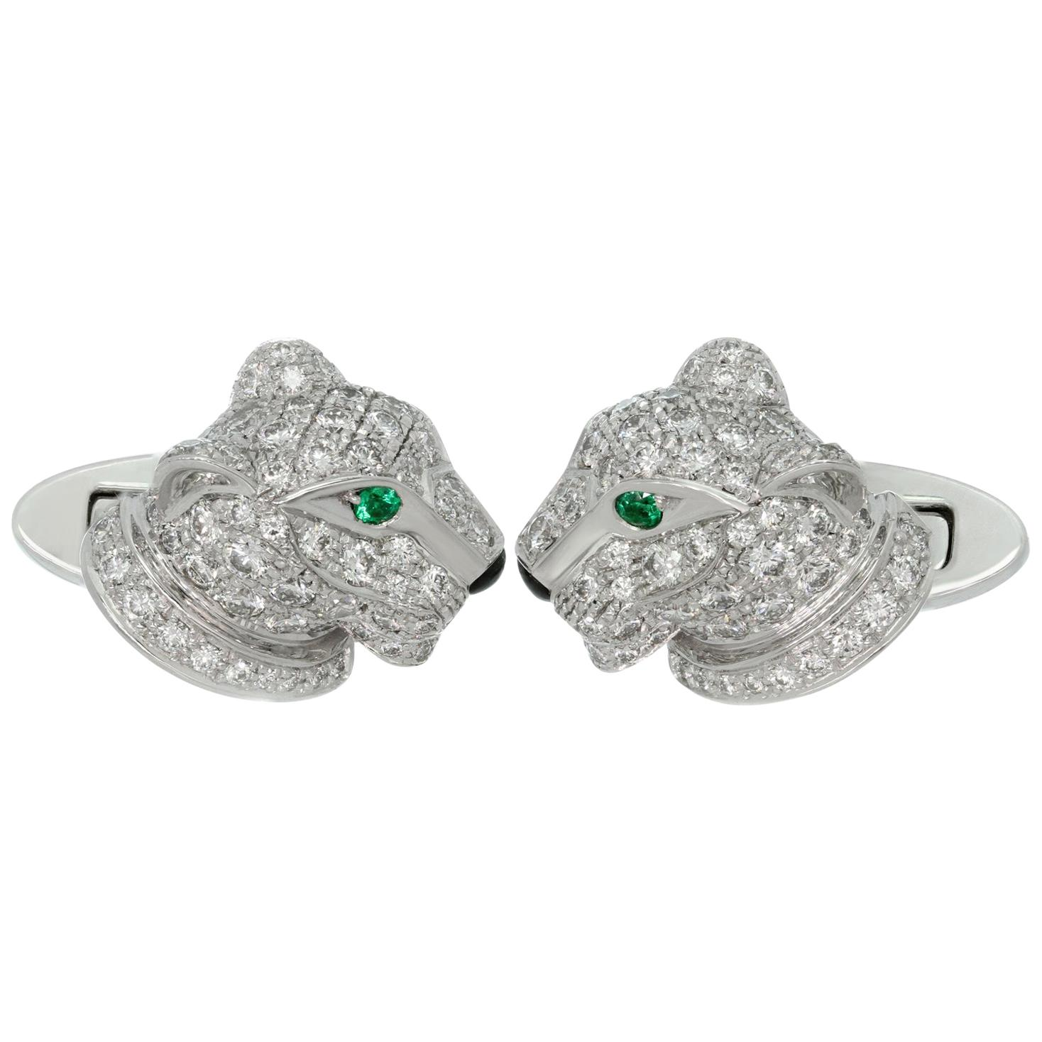 Cartier Panthere Full Pave Diamond Emerald White Gold Cufflinks