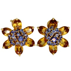 Van Cleef & Arpels Hawaii Citrine Sapphire Yellow Gold Flower Earrings