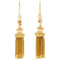 Antique Gold Tassel Earrings, French