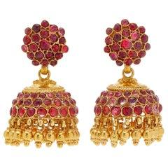 Indian Ruby Gold Chandelier Ear-Pendants