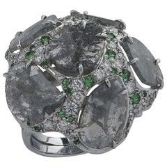 Diamond and Tsavorite Garnet Cocktail Ring