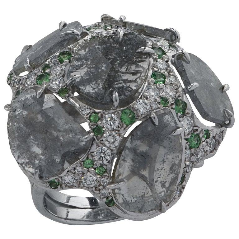 Diamond and Tsavorite Garnet Cocktail Ring For Sale