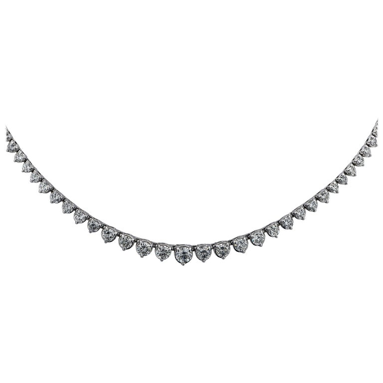 8.5 Carat Riviere Diamond Necklace For Sale